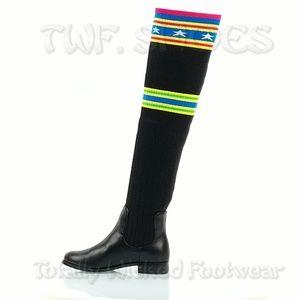 Black Neon OTK Riding Sock Boots